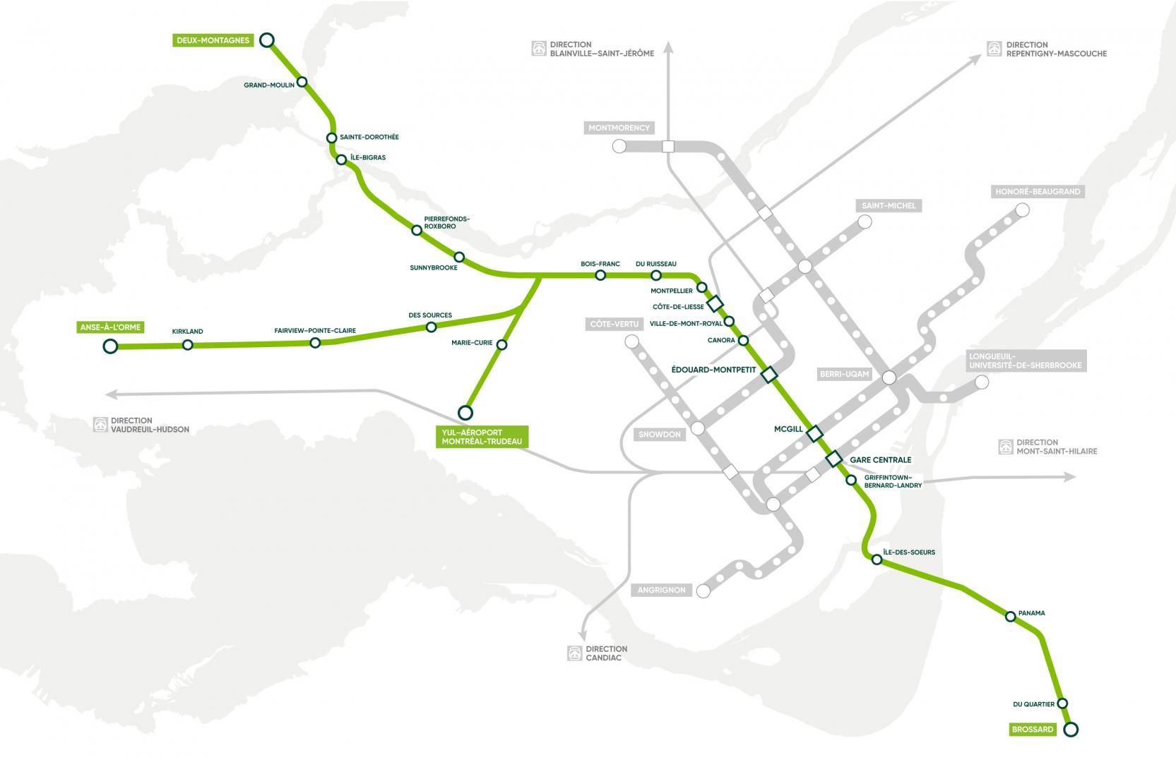 Carte du trajet du REM