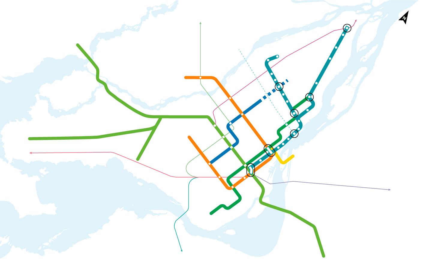 REM de l'Est connections to transport networks
